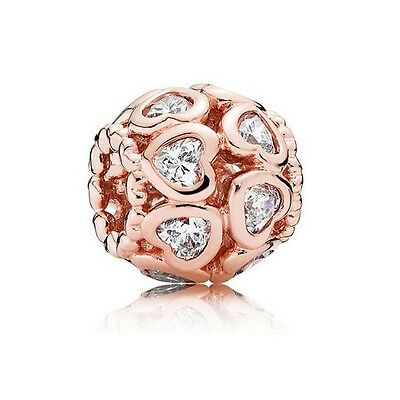 S925 Sterling Silver EURO Charm Bead 14K Rose Gold PL Love All Around Heart CZ