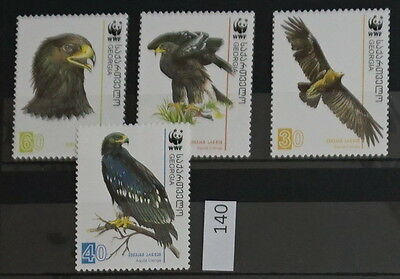 S0 0140 WWF Animals Georgia MNH 2007 Birds, Eagles Mi 527-530