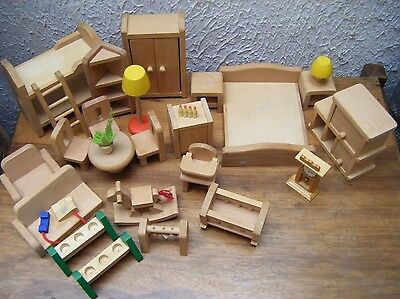 Large Job Lot Bundle of Chunky Wooden Large Scale Dolls House Furniture