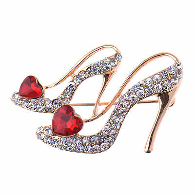 Beautiful Gold Plated Red Clear Crystal High Heel Statement Brooch