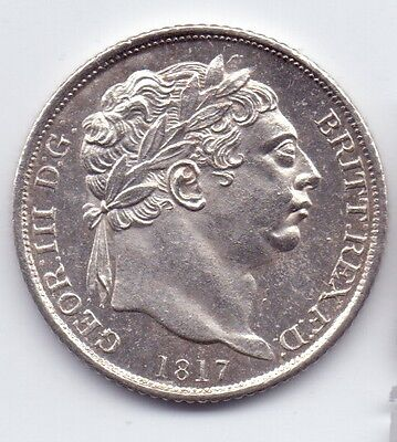 1817 GEORGE III SILVER SIXPENCE (impaired proof, milled edge)