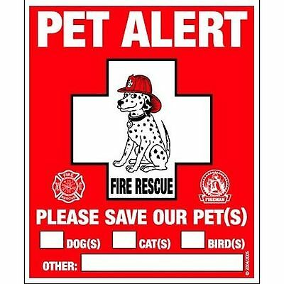 Pet Safety Alert Static Cling Fire Rescue Window Decals - 2 Pack