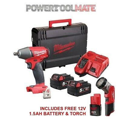 """Milwaukee M18FIWF12-502X 18V Fuel 1/2"""" Impact Wrench w/ Torch & Batteries"""