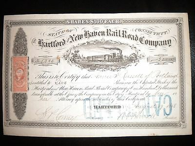 The Hartford and New Haven Rail Road Company  1868   Rare !!