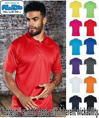 Mens AWDis Just Cool 3 Button Polo Shirt - Lightweight Smooth Fabric Mens Top