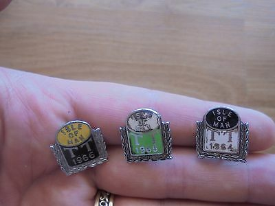 3 x ISLE OF MAN TT RACES pin badges 1964 - 66_used_ships from AUS_xx79_A5a179