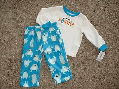 Carter's Baby Boys Mommys Monster Fleece Pajamas Set Size 24 months 24M NWT NEW