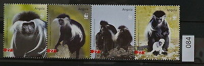 S0 0084 WWF Animals Angola MNH 2004 Monkeys Mi 1745-1748