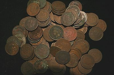 100 Indian Head Cent Penny LOT,  Circulated, Assorted Dates!