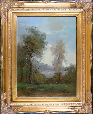 Gold Framed Oil Painting On Canvas Signed French Impressionist Landscape