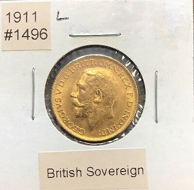 """1911 """"L"""" British Gold Sovereign Gold Coin"""