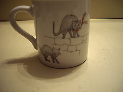 """The Toscany Collection White Ceramic """"Cats Cup/Mug"""