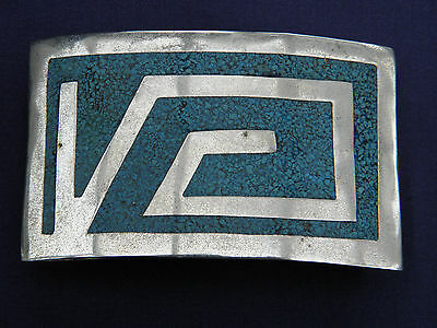 Lovely Large Vintage Sterling Silver Alpaca Mexican Turquoise Belt Buckle