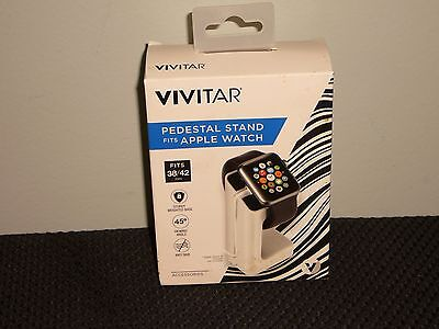 "NEW~VIVITAR BRAND PEDESTAL STAND FITS APPLE WATCH ""WHITE""(FITS 38/42mm)!!"