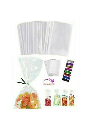 Favor Sweet Candy Gift Empty Bags /& Ties Treat Clear Gussett Cello Party