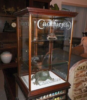Vintage Cadbury Chocolate Wooden & Glass Counter Top Display Case