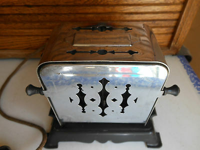 Antique Chrome Toaster By Knapp Monarch Bakelite Base  Flopper Sides-It Works