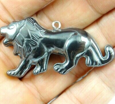 Hematite hand-Carved lion Gemstone pendant beads necklace Jewelry making D17