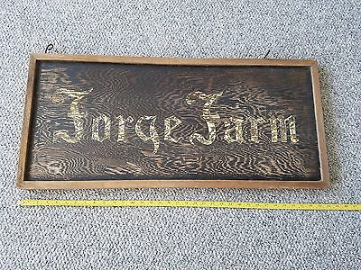Connecticut Landmark  Forge Farm Sign - Rustic Hand Made Vintage Wooden