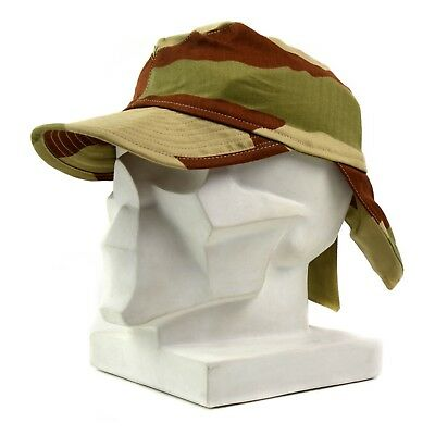 Genuine French France army combat cap Swallowtail cap desert camo with neck flap