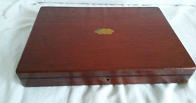 Antique medium size wooden cutlery box canteen with brass
