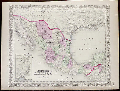 1866 Johnson's  Map of Mexico. Hand Colored Engraving