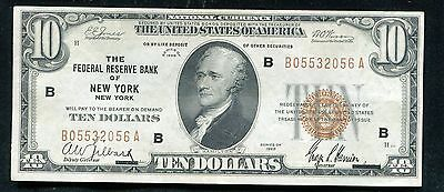 1929 $10 Frbn Federal Reserve Bank Note New York, Ny Extremely Fine (B)