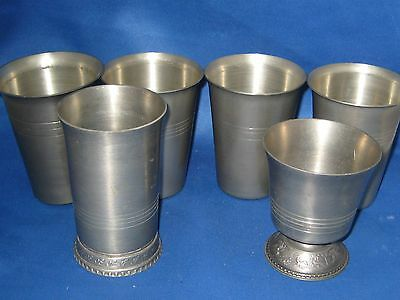 Lot of 6 Antique German Solid Pewter Cups Engraved Marks Two Embossed Deer