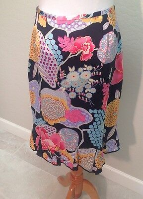 ETCETERA BRAND NWOT SZ 2 A-line Skirt Silk Charmeuse Floral Lined