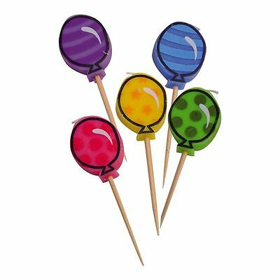 Pack of 5 Candles Balloon Design Cake Decoration Childrens Birthday Party