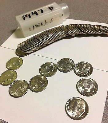 "Roll Of Roosevelt Silver Dimes. ""1947 D"" UNCIRCULATED!"