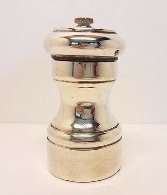 Vintage Sterling Silver Pepper Mill Grinder w/ Wood Interior Italy