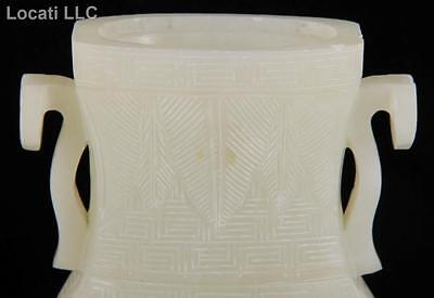 Antique Chinese large mutton fat jade vase, white, carved, 20.2 cm high