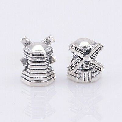 S925 Silver EUROPEAN Windmill Holland Dutch Charm & a Pandora Cloth