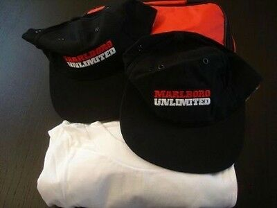 MARLBORO T-SHIRT, 2 Hats, THERMO LUNCH BAG-Set Of 4 NWT