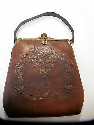 ANTIQUE Early 1900's Teitzel Tooled Leather Purse Art Deco Vintage Mirror