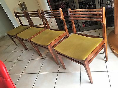 Serie 4 Chaises Teck/palissandre Vintage Scandinave Annee 60
