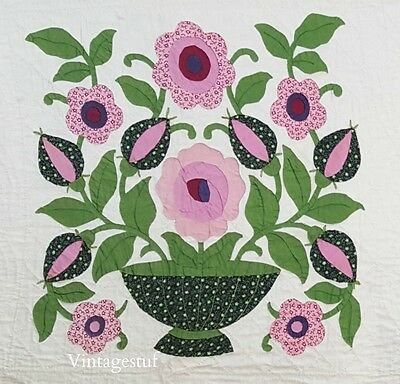 Antique Album Quilt Applique Pink Green Floral Hand Quilted 81 x 94 Paragon Kit