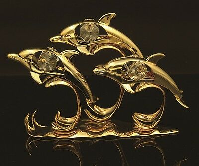 24K Gold Plated Swarovski Crystal Element Triple Dolphin On Waves Figurine