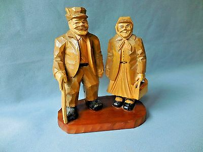 Folk art Hand Carved Old Man and Woman by E. Kjellman Primitive