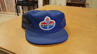 Vintage Amoco Trucker Hat Blue Snapback Mesh Patch Gas Advertising