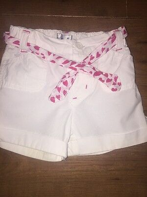 Baby Girls White Summer Shorts 12-18
