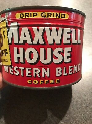 Maxwell House Western Blend Coffee Tin Can Sealed NOS New unopened Key Wind Full