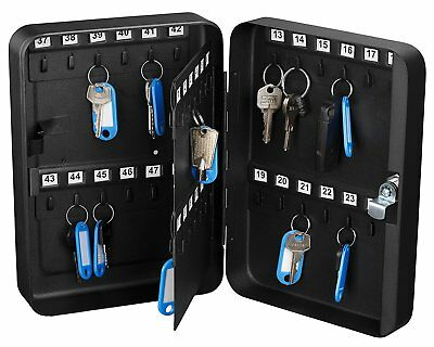 48 Keys Solid Steel Safe w/ Tags Storage Cabinet Box Case Home Dorm Office Shop
