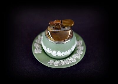 Vintage Wedgwood made in England/Japan Green Lighter and Ashtray