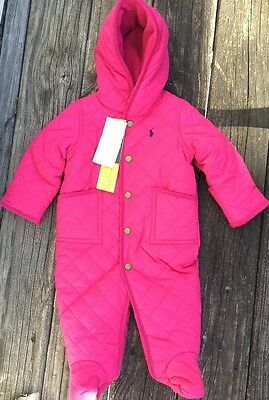 Nwt Polo Ralph Lauren Infant Girls Quilted Snow Suit Bunting Size 6 Months Pink