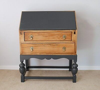 Vintage Bureau in Solid Oak and Oak Veneer