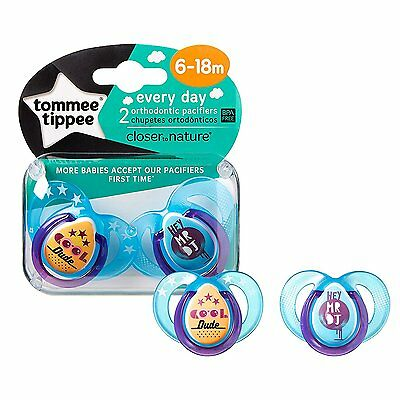 Tommee Tippee Closer To Nature Everyday Pacifier, Blue, 6-18 Months, 2 Count
