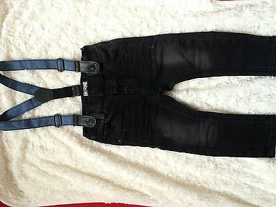 Baby Boy Black Next Jeans With Braces 6-9months
