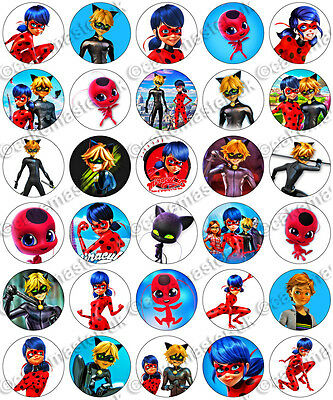 30 x Miraculous Ladybug & Cat Noir Edible Rice Wafer Paper Cupcake Toppers